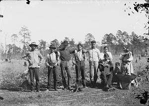 Mississippi Band of Choctaw Indians - Group of eight Choctaw and two white men in 1909