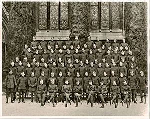Francis Stewart Briggs - Oxford, England, February 1917. Formal large group portrait of instructors and part of the first group of 200 Australian cadets from the 1st AIF to attend a School of Aeronautics training course after they had volunteered to train as pilots for the Royal Flying Corps (RFC). Briggs is second from the left in the second row.