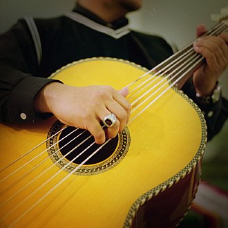 Guitarrón mexicano - A close-up of a guitarrón being played.