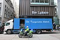 HK 中環 Central 皇后大道中 Queen's Road the LPlace blue lorry logistics n police motorbike rider June 2017 IX1.jpg