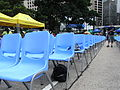 HK Central 中環 遮打道 Chater Road blue plastic chairs July-2012.JPG