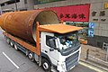HK Tram tour view 德輔道西 Des Voeux Road West Sheung Wan contruction metal tube with Truck on the way October 2017 IX1.jpg