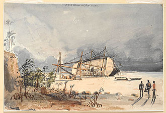 Pelorus Sound - The Cruizer class brig-sloop HMS Pelorus aground at low water. Pelorus Sound is named after this ship.