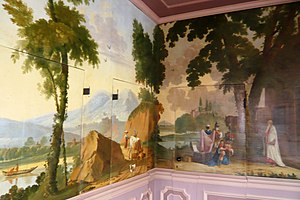 Jan Augustini - Regent room in Het Dolhuys, a continuous landscape covering three walls, done by Augustini in 1756.