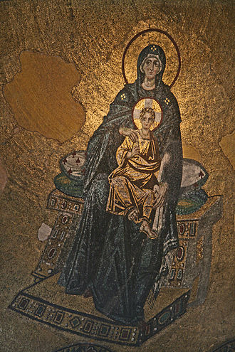 Tessera - Apse mosaic of the Virgin Mother and Child, Hagia Sophia, featuring intensely luminous golden tesserae
