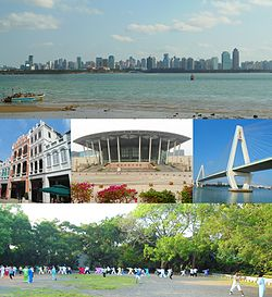 Top: Panoramic view of Haikou from Xixiu Beach, Middle from left: A facade building in Zhongshan Road in Qiongshan District, Hainan Performance of Art Center, Haikou Century Bridge and Nandu River, Bottom: Haikou People's Park in Lonhua District