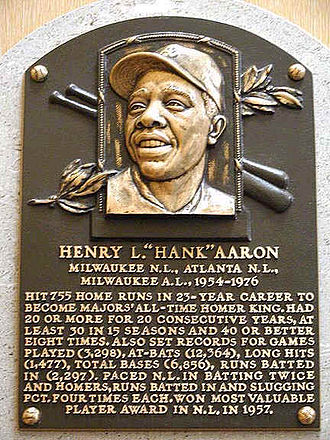 Hank Aaron - Hank Aaron's Hall of Fame plaque at the Baseball Hall of Fame in Cooperstown, New York