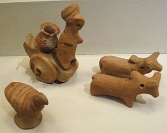 Indus Valley Civilisation - Miniature Votive Images or Toy Models from Harappa, ca. 2500. Hand-modeled terra-cotta figurines indicate the yoking of zebu oxen for pulling a cart and the presence of the chicken, a domesticated jungle fowl.