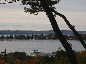 Harbor Springs, Michigan - Panorama from the bluff overlooking the city