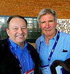 Harrison Ford and Wendell Brown at the 2016 TED conference in Vancouver, Canada.jpg