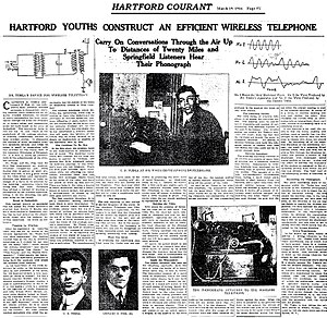 Clarence D. Tuska - Image: Hartford Youths Construct an Efficient Wireless Telephone 19MAR1916