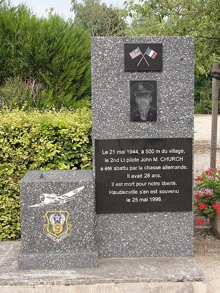 Haudainville (Meuse) memorial John M. Church