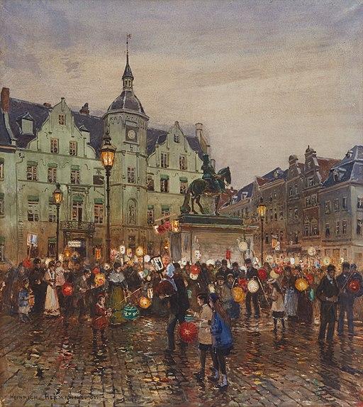 Heinrich Hermanns Sankt-Martins-Zug vor dem Düsseldorfer Rathaus 1905