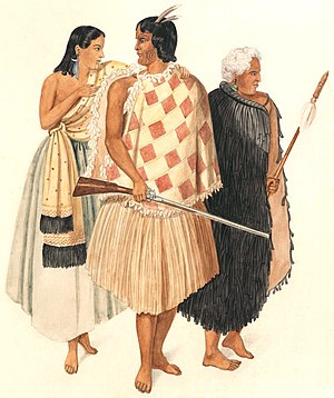 Flax in New Zealand - Hone Heke (centre) wearing a short checked flax and feather cloak and flax skirt. His uncle Kawiti is on the right in a flax cloak.