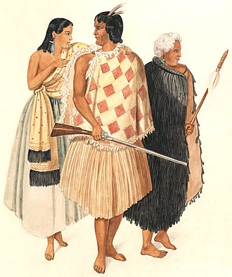 Māori people - 1846: Hone Heke, holding a musket, with his wife Hariata and his uncle Kawiti, holding a taiaha.