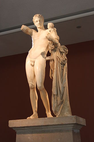 Archaeological Museum of Olympia - Image: Hermes bearing Dionysos 050911