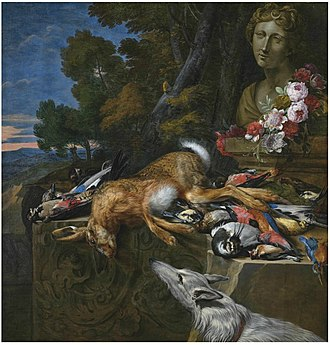 Hieronymus Galle - A hare and songbirds on a stone ledge