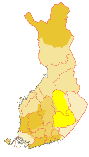 Savonia (historical province) - Historical province of Savonia in bright yellow (modern regions bordered in pink)