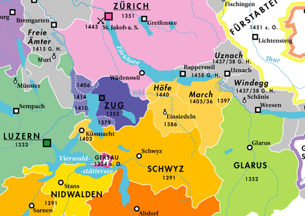 The growth of the canton of Schwyz