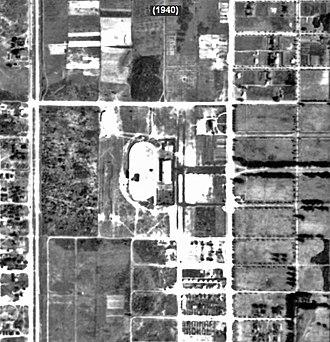 Big Easy Casino - Historic Aerial Photograph of Hollywood Grayhound (Mardi Gras Casino) in 1940