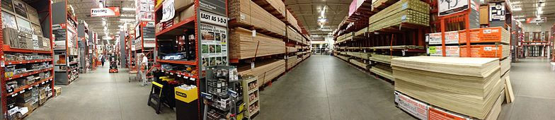 A panoramic view within a Home Depot store in February 2013.