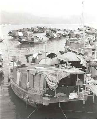Tanka people - Hong Kong boat dwellings in December 1970.