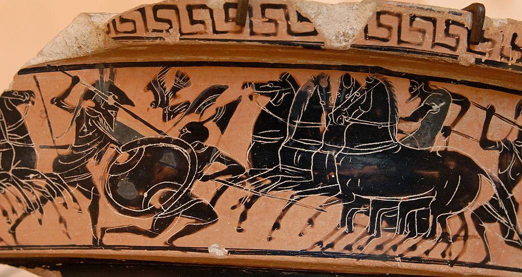 Combat de hoplites Scène de combat. Musée archéologique Salinas de Palerme - Photo de Marie-Lan Nguyen