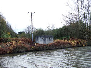 Leeds and Liverpool Canal - A concrete pillbox by the canal