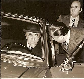 Amir-Abbas Hoveyda - Hoveyda often chose to drive himself to work and around town in a Paykan. His security detail often sat in the back seat. shown here with his Chief of Staff, Abdol Ali Ghaffari