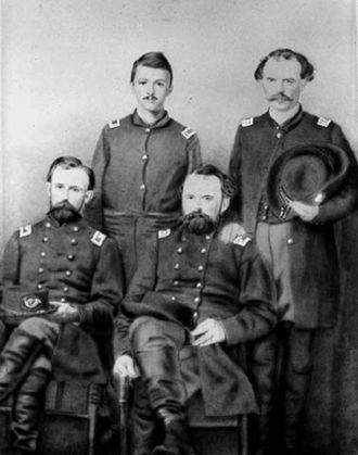 Lucius Frederick Hubbard - Hubbard (front left) with members of the 5th Minnesota Regiment in 1862.