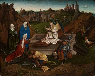 Saint Francis Receiving the Stigmata (van Eyck) - The Three Marys at the Tomb, attributed to Hubert van Eyck, c. 1410–28