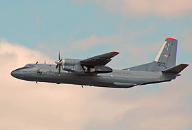 Hungarian Air Force Antonov An-26 departs RIAT 14thJuly2014 arp.jpg