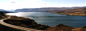 Interstate 90 in Washington - I-90 crossing over the Columbia River on the Vantage Bridge near Vantage.