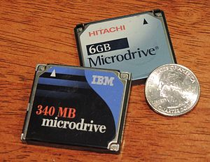 Microdrive - IBM and Hitachi Microdrive harddisk drives.