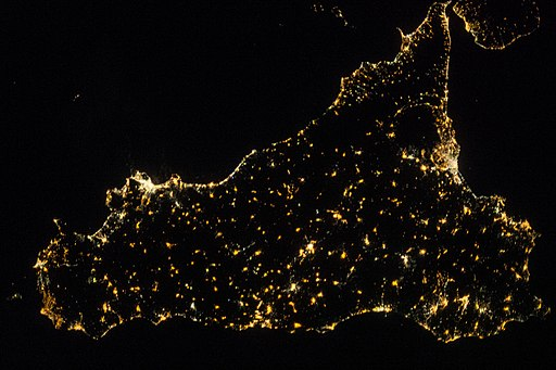 ISS-36 Night picture of Sicily (vertical view)