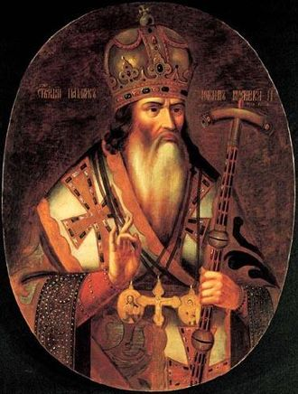 Patriarch Joachim of Moscow - Patriarch Joseph, a 19th-century hand-drawn lubok