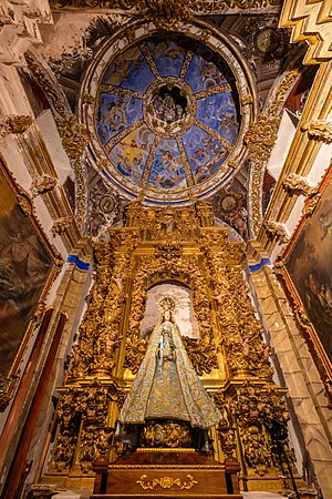 Image and reredos in the church of St John the Baptist, Ágreda, Soria, Spain