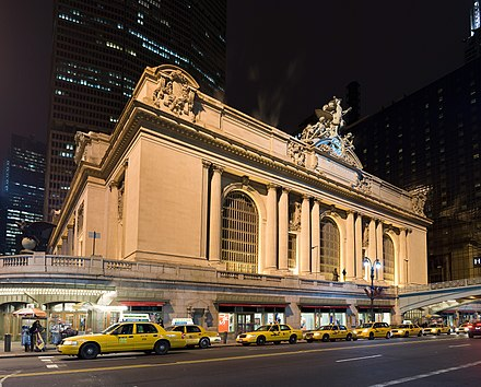 Grand Central Terminal, seen from 42nd Street Image-Grand central Station Outside Night 2.jpg