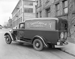 "Kinney Brothers Tobacco Company - Imperial Tobacco Company ""Sweet Caporal Cigarettes"" truck in Vancouver, 16 March 1935"