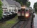 Inbound train arriving at Hamilton Wenham station, June 2012.JPG