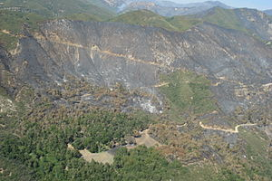 Indians Fire - Los Padres National Forest, Monterey Ranger District, Escondido Campground in foreground looking North