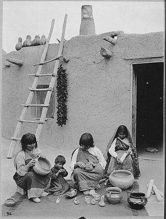 Parenting - Indians of Santa Clara Pueblo, New Mexico, making pottery, 1916