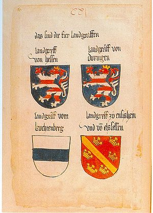 Duchy of Thuringia - Coat of arms of the Landgraviates of Hesse and Thuringia, Codex Ingeram, c. 1459