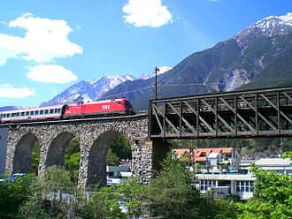 Arlberg railway - Inn bridge in Landeck