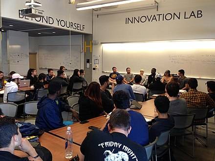 The Summer PreCore Program for community college transfers to the Haas Undergraduate Program, hosted at the Innovation Lab (est. 2013), founded by Linda (BS '67) and Mike Gallagher (MBA '68), under the California Memorial Stadium. Innovation Lab.jpg