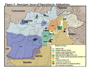 Haqqani network - Image: Insurgent Regions in Afghanistan and Pakistan