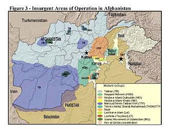Haqqani network - Image: Insurgent Regions in Afghanistan and Pakistan