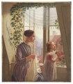 Interiör med mor och dotter vid fönster (Ludvig August Smith) - Nationalmuseum - 180227.tif