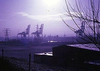 Bidston Dock - The three iron ore unloading cranes in 1967, seen from Wallasey