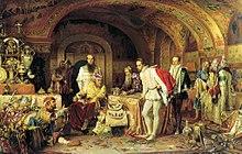 Plusieurs hommes se trouvent dans une salle richement décorée avec de nombreux objets en or.